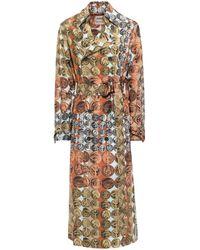 Roberto Cavalli Belted Printed Silk Trench Coat Orange