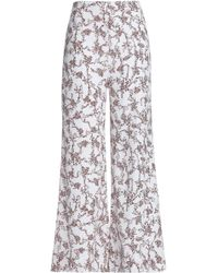 2ecca2d9b6 Emilia Wickstead - Woman Floral-print Georgette Wide-leg Pants White - Lyst