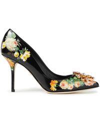 Dolce & Gabbana Crystal-embellished Floral-print Leather Court Shoes - Black