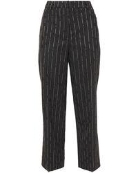McQ Cropped Pinstriped Floral-jacquard Straight-leg Trousers Black