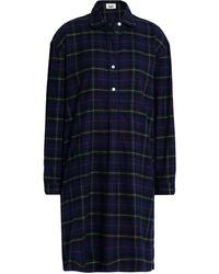 Sleepy Jones Plaid Cotton-flannel Nightdress - Blue