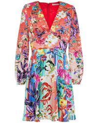 Mary Katrantzou - Bloom Floral-print Hammered Stretch-silk Mini Dress Tomato Red - Lyst