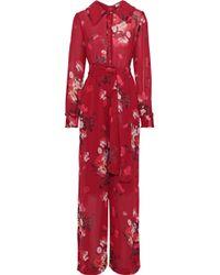 byTiMo Belted Floral-print Georgette Jumpsuit Crimson - Red