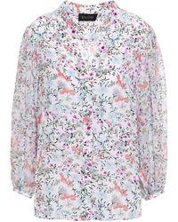 Saloni Chloe Floral-print Silk Crepe De Chine Blouse White