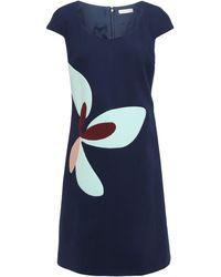 Delpozo Color-block Wool-crepe Dress Navy - Blue
