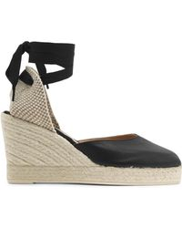 Manebí - Leather And Canvas Wedge Espadrilles - Lyst