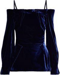Roland Mouret Walston Cold-shoulder Velvet Top Navy - Blue