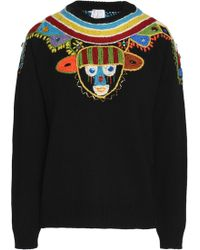 Stella Jean - Embroidered Virgin Wool Jumper - Lyst