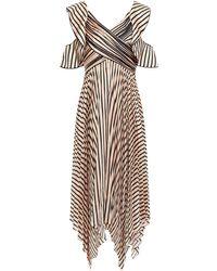 Self-Portrait Asymmetric Pleated Striped Satin Midi Dress Blush - Multicolour
