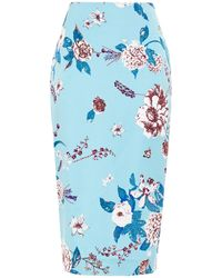 Diane von Furstenberg Kara Floral-print Cady Pencil Skirt Sky Blue