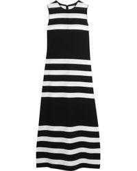 CALVIN KLEIN 205W39NYC Striped Stretch-knit Dress - Black
