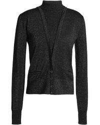 Just Cavalli - Button-detailed Metallic Wool-blend Jumper - Lyst