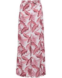 Onia Printed Woven Wide-leg Pants Antique Rose - Pink