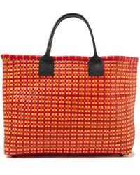 Truss Leather-trimmed Woven Raffia-effect Tote Red