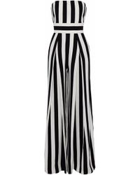MILLY Strapless Pleated Striped Crepe Jumpsuit - White