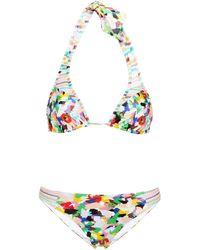 Missoni Triangel-bikini Aus Häkelstrick Und Glänzendem Jersey Mit Print - Mehrfarbig