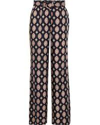 Nicholas Riad Belted Printed Silk-twill Straight-leg Trousers - Black