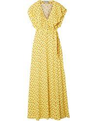 Paul & Joe - Amalia Ruffled Floral-print Crepe Wrap Maxi Dress Yellow - Lyst