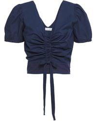 Isolda Ruched Stretch-cotton Poplin Top - Blau