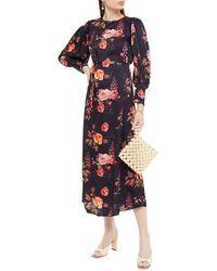 Mother Of Pearl Zoe Velvet-trimmed Floral-print Hammered-satin Midi Dress Dark Purple - Blue