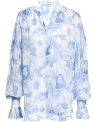 Lover - Woman Printed Georgette Blouse Light Blue - Lyst