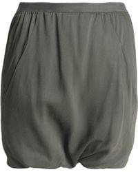 Rick Owens - Woman Gathered Crepe Shorts Army Green - Lyst