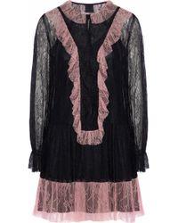 Anna Sui - Ruffled Two-tone Corded Lace Mini Dress - Lyst