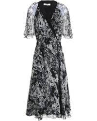 Lanvin - Floral-print Silk-georgette Wrap Dress - Lyst