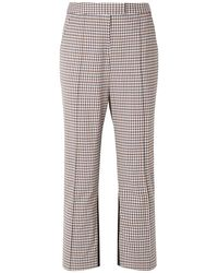 Rosie Assoulin The Scrunchy Checked Stretch-wool Blend And Twill Flared Trousers - Brown