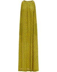 Bella Freud Edie Gathered Printed Silk Crepe De Chine Maxi Dress - Green