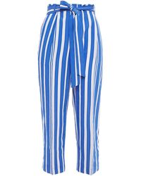 Chinti & Parker Belted Striped Crinkled-jacquard Tapered Pants - Blue