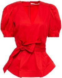 Veronica Beard Aslan Belted Cotton-blend Poplin Peplum Top - Red