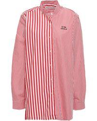 Être Cécile - Être Cécile Printed Cotton-poplin Shirt Red - Lyst
