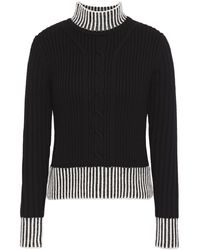 Equipment Striped Cable-knit Wool Turtleneck Jumper Black