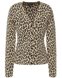 Theory Leopard-print Jacquard-knit Cardigan Sand - Natural