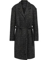 Deveaux Oversized Belted Herringbone Wool-felt Coat Dark Green