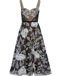 Marchesa notte - Flared Embroidered Point D'esprit Midi Dress Black - Lyst