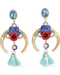 Elizabeth Cole - Woman Embellished 24-karat Gold-plated, Stone And Crystal Earrings Multicolour - Lyst