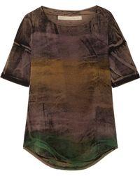 Raquel Allegra | Distressed Tie-dyed Stretch Cotton-blend T-shirt | Lyst