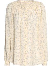 Vince - Smocked Floral-print Silk Crepe De Chine Shirt - Lyst