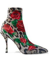 Dolce & Gabbana Lori Printed Stretch-knit Sock Boots Animal Print - Multicolour