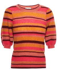 Ulla Johnson Striped Ribbed Cashmere-blend Top - Multicolour