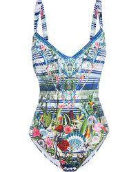 Camilla Solishea Crystal-embellished Printed Swimsuit - Blue