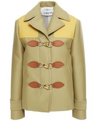 Lanvin Leather-trimmed Wool And Silk-blend Jacket - Green