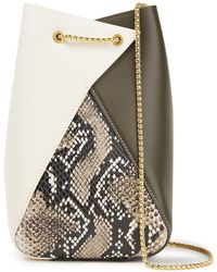 the VOLON I Panelled Smooth And Snake-effect Leather Bucket Bag - White