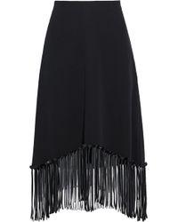 Alexander Wang - Fringe-trimmed Silk-crepe Skirt - Lyst