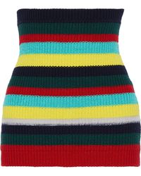 Marni Striped Cotton And Wool-blend Corset Emerald - Green