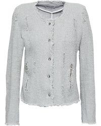 IRO Agnette Distressed Cotton Bouclé-tweed Jacket Stone - Multicolor