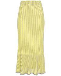 M Missoni Metallic Striped Crochet-knit Cotton-blend Midi Skirt Bright Yellow