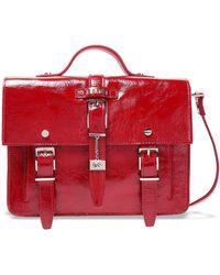 Versus Buckle-embellished Crinkled Patent-leather Shoulder Bag Red